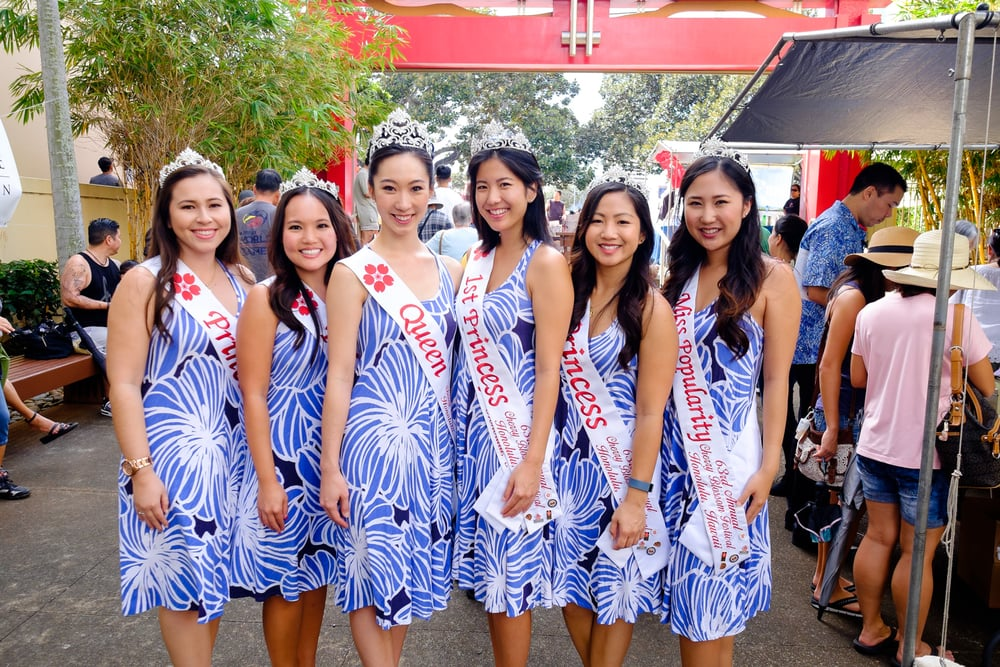 63rd Cherry Blossom Festival Court (from left): Princess Jessica Kaneshiro, Princess Kyla Teramoto, Queen Kimberly Takata, First Princess and Miss Congeniality Rosalei Chinen, Princess Celina Quach, and Miss Popularity Heather Miura.
