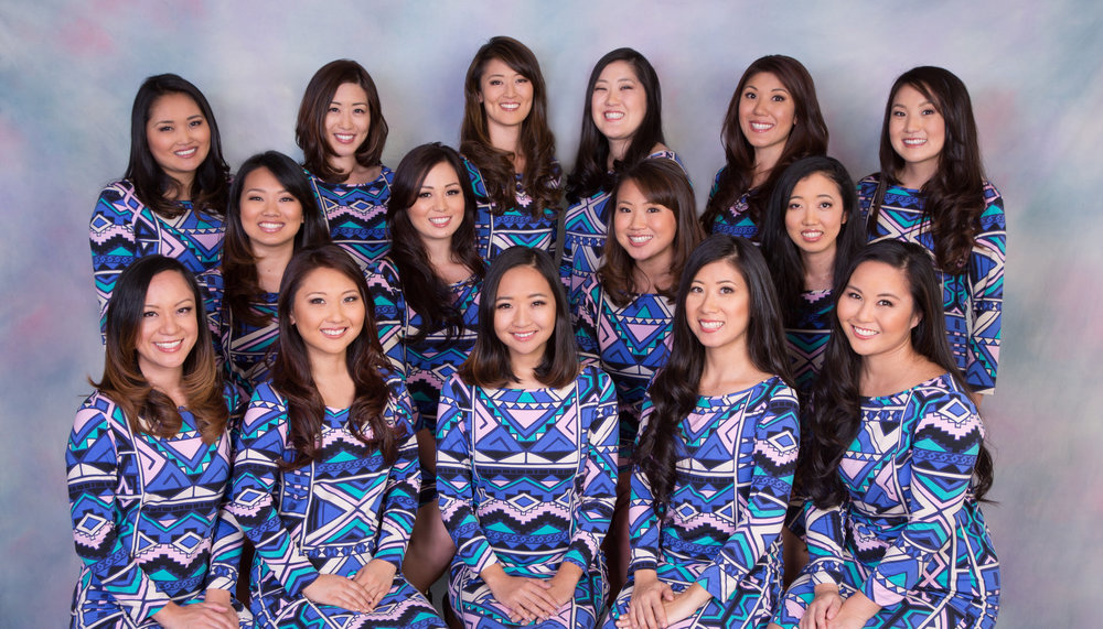 Back Row From Left to Right: Lauren Umamoto, Marcie Kamei, Kelli-Ann Wong, Lori Kim, Nicole Nakamoto, Kaelyn Okuhata Middle Row From Left to Right: Carly Ishihara, Kirstie Maeshiro-Takiguchi, Kelly Ann Takiguchi, Michelle Ota Front Row From Left to Right: Roxanne Takaesu, Ruth Taketa, Jennifer Ezaki, Jolyne Kurihara, Heather Omori The 65th Cherry Blossom Festival Contestants are featured wearing Tikal; an original design by Gold Sponsor, Tori Richard. Photo courtesy of Garret Nose, photographer and owner of Garret Nose Photography. Hair and makeup courtesy of Alison Hayashi, owner of Kiss&Makeup.  Alison was assisted by Tracie Ifuku Smith.