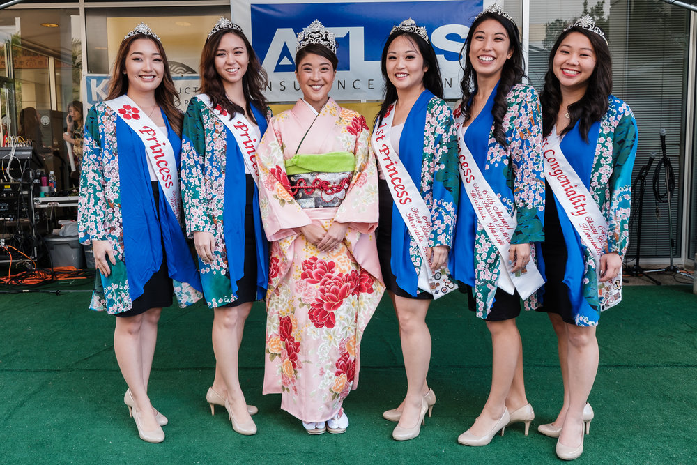 64th Cherry Blossom Festival Court (from left): Princess Ritsuko Tomari, Princess and Miss Popularity Asia Ayabe, Queen Alexis Okihara, First Princess Brittany Kawahara, Princess Kristi Murakami, and Miss Congeniality Dylan Lau.