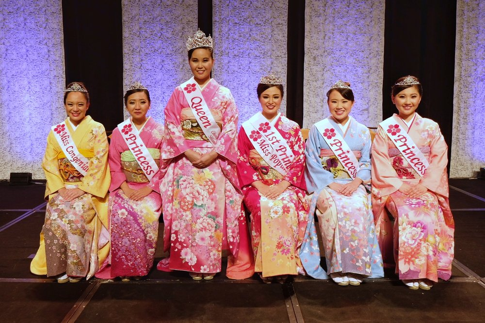 From left: Miss Congeniality Roxanne Napualani Takaesu, Princess Jennifer Keiko Ezaki, Queen Heather Kiyomi Omori , 1st Princess and Miss Popularity Kirstie Hiroi Maeshiro-Takiguchi, Princess Kelly Ann Keiko Takiguchi, and Princess Ruth Mariko Taketa.