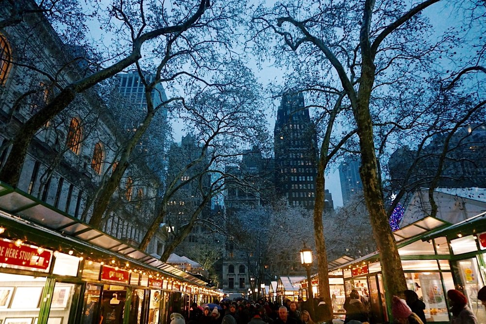 Bryant Park Christmas Market, NYC at Christmas