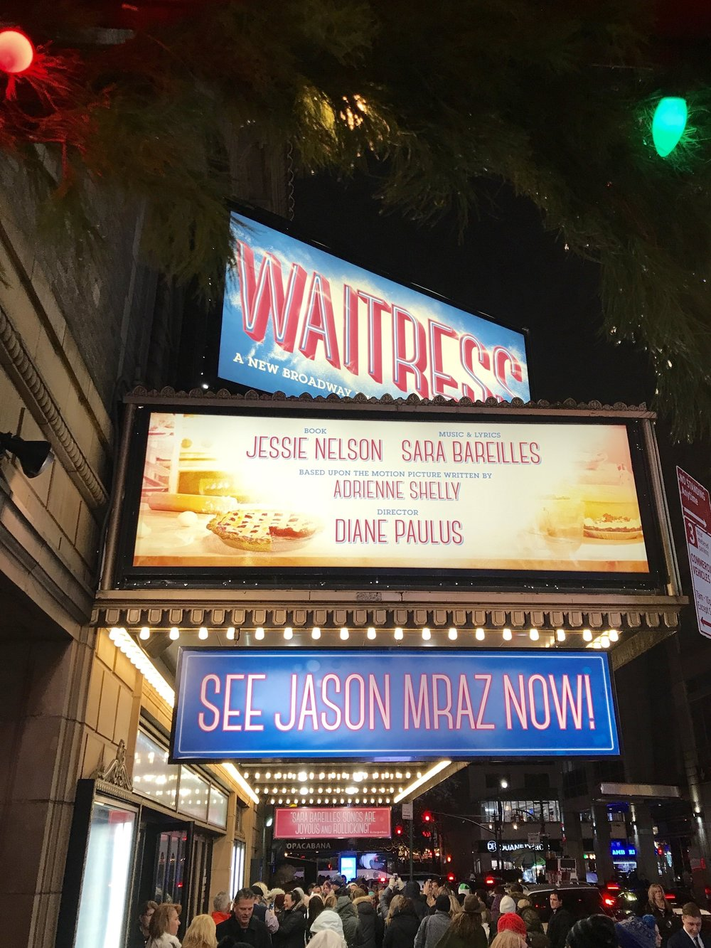 Waitress: The Musical on Broadway, NYC at Christmas