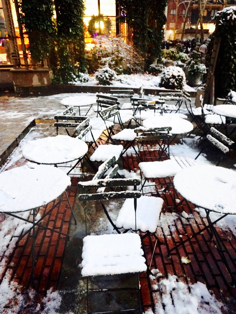 Snow in Bryant Park, New York City