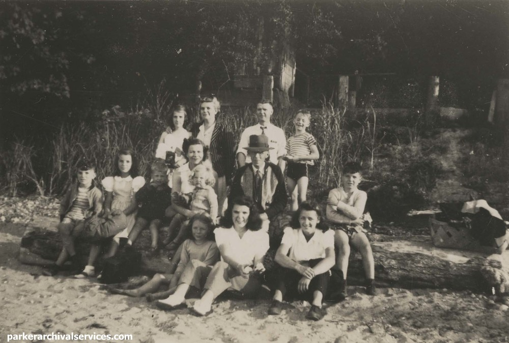 Image of the Pipes family, c. 1943. Original photograph is 2 x 3 inches. Click to enlarge.