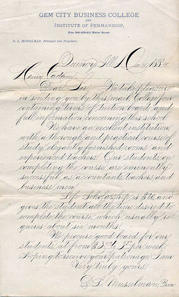 Example of Spencerian Script. By D.L. Musselman (http://www.iampeth.com/lessons.php#spencerian) [Public domain], via Wikimedia Commons.