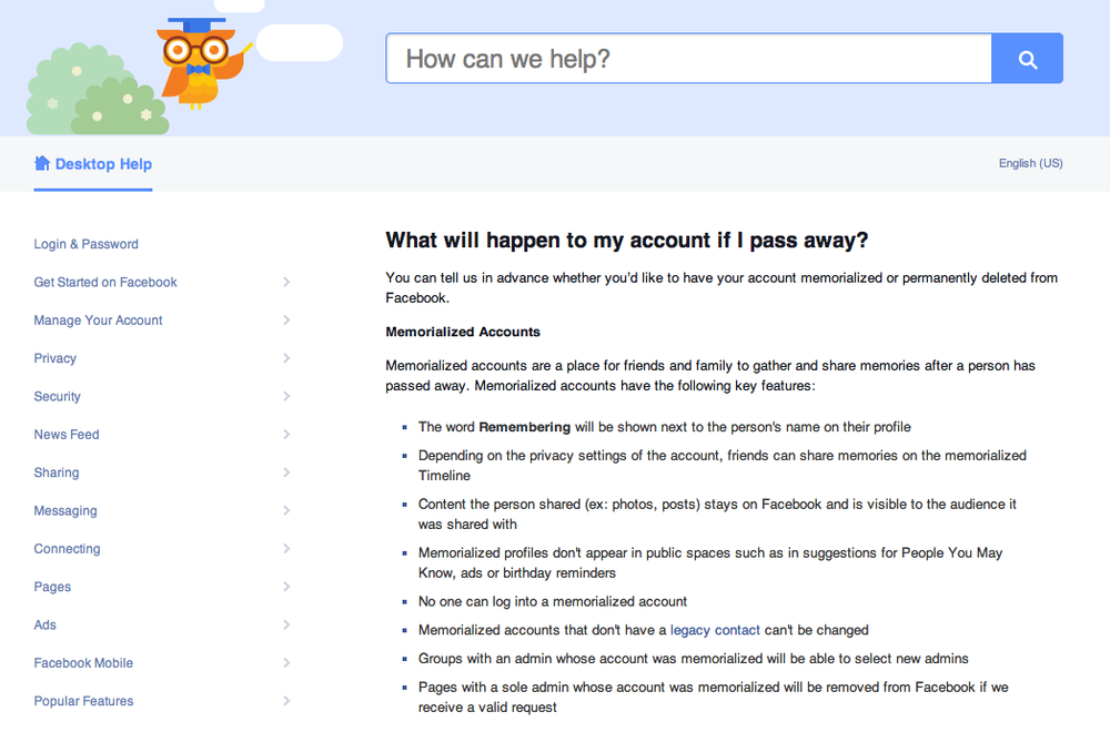 Facebook Help Center: What will happen to my account if I pass away? Click on image to visit page.