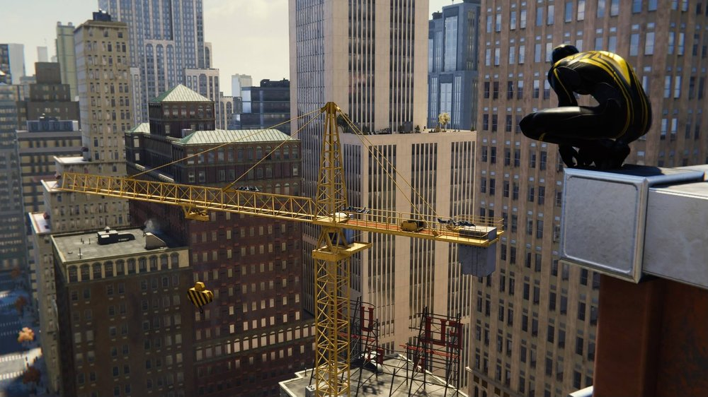 In game screenshot of the construction crane.