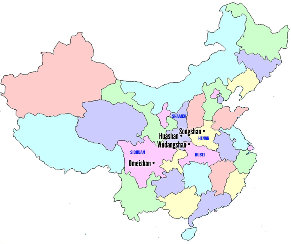 Locations of  Songshan, Omeishan, Hua  shan, and Wudangshan:  the four sacred mountains where major schools of Chinese martial arts originated.