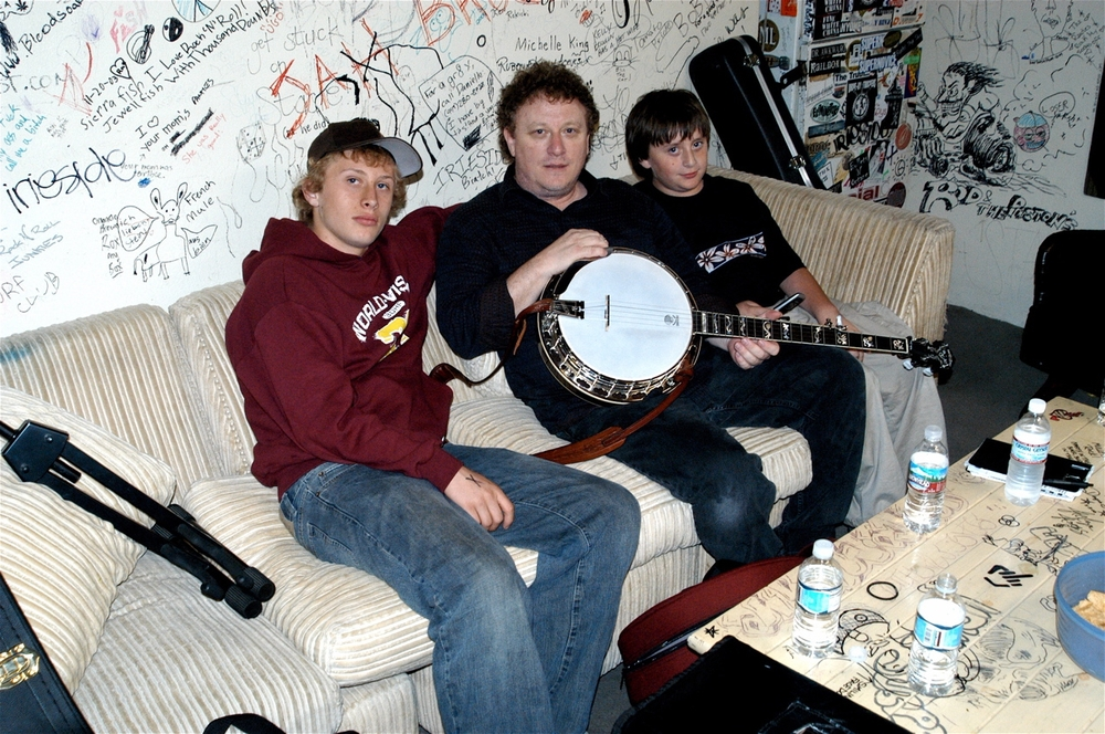 Andy and sons backstage at The Coach House
