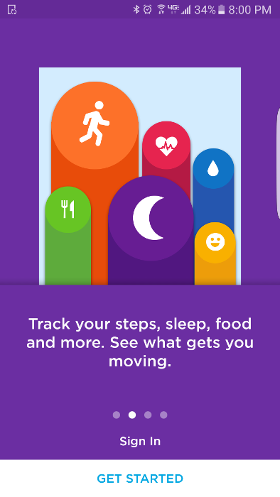 The Jawbone UP application tracks your steps, sleep, food, and more.