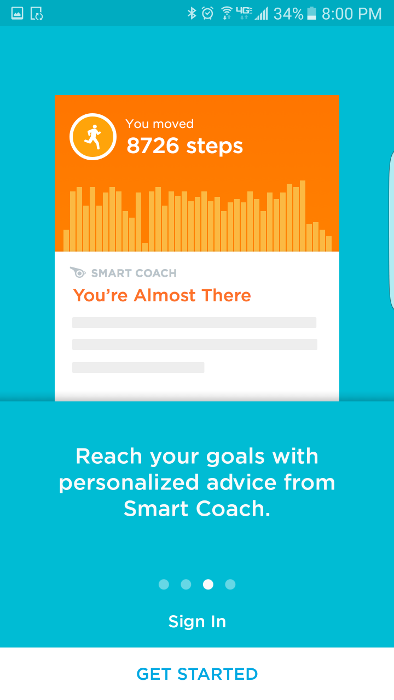 """Set goals, record steps and distance, and receive encouragement from the """"smart coach"""" feature."""