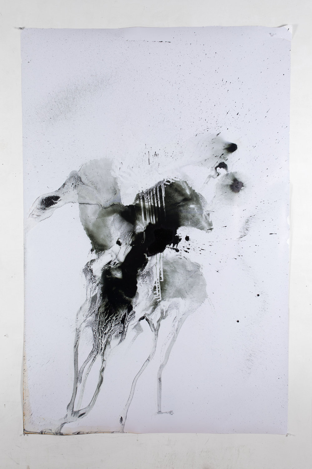 Untitled, 69''x44'', 2016, recycled printer ink and pepper spray on Premium Luster Photo Paper 260
