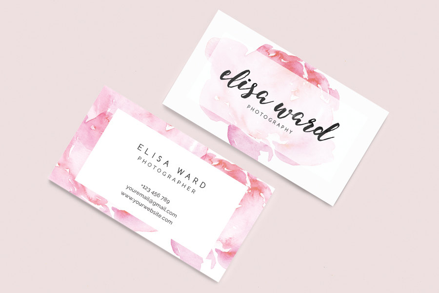 Watercolor Floral Business Card Template — ZOKU DESIGNS