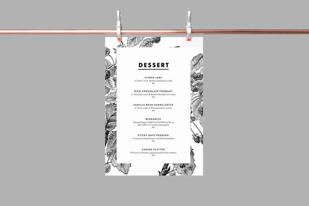 dovetails dessert menu design