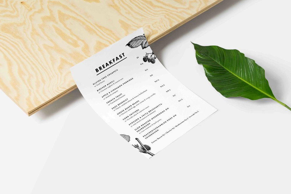 dovetails breakfast menu design
