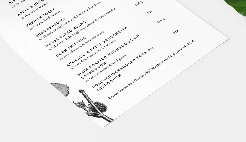 dovetails breakfast menu detail