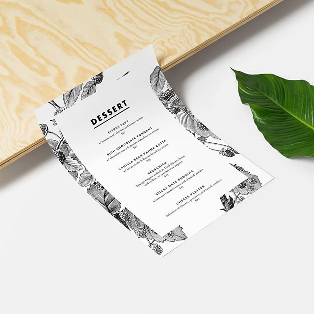 Menu design for @dovetailsrestaurant by Peachface Design Co