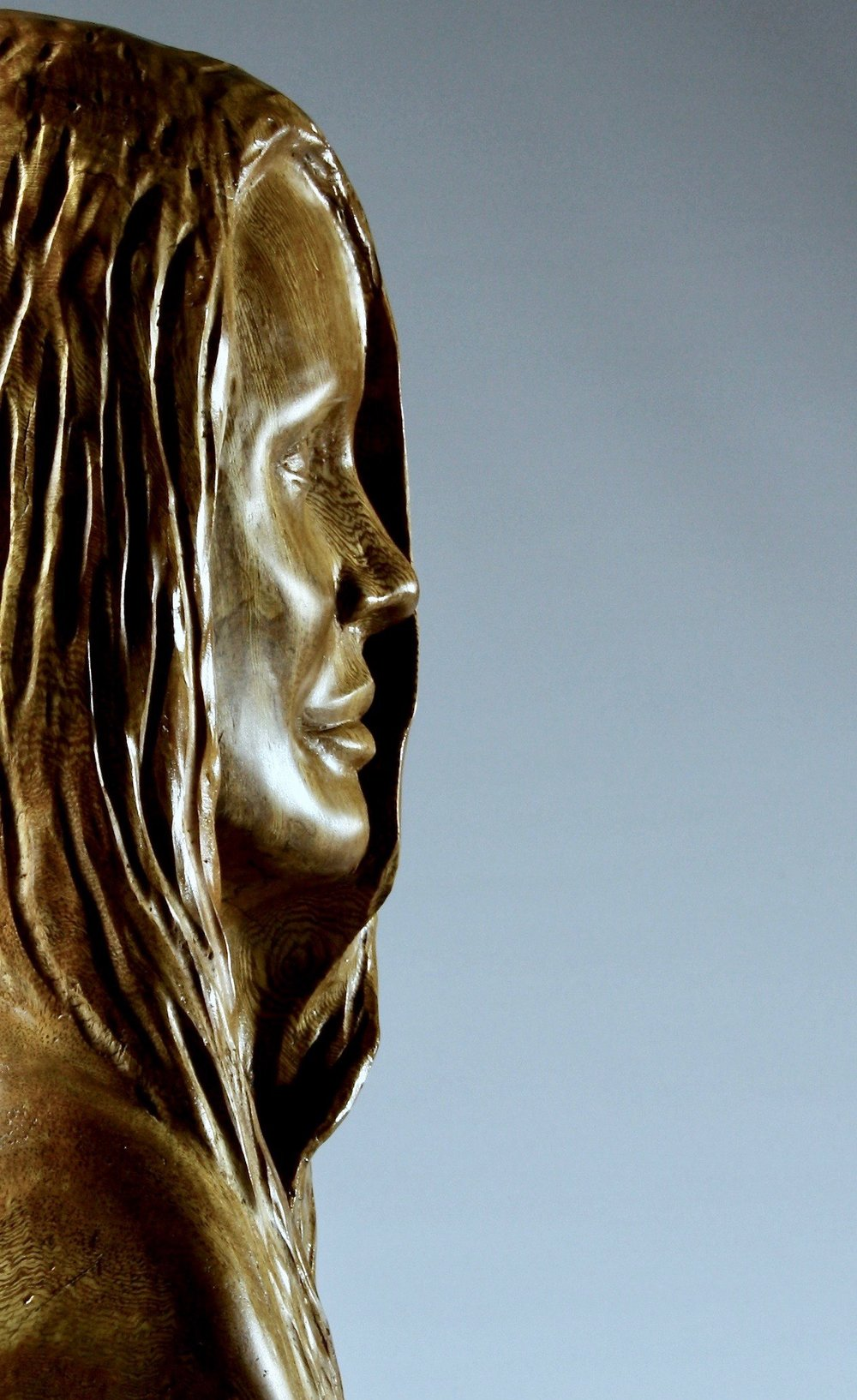 'Angelina'     Dimensions: 45x25x22 cm   Wood:  Moreton Bay Fig   Artist Statement:  The battle celebrities face to keep some part of their lives private is portrayed by half of Angelina's face being hidden behind her hair.