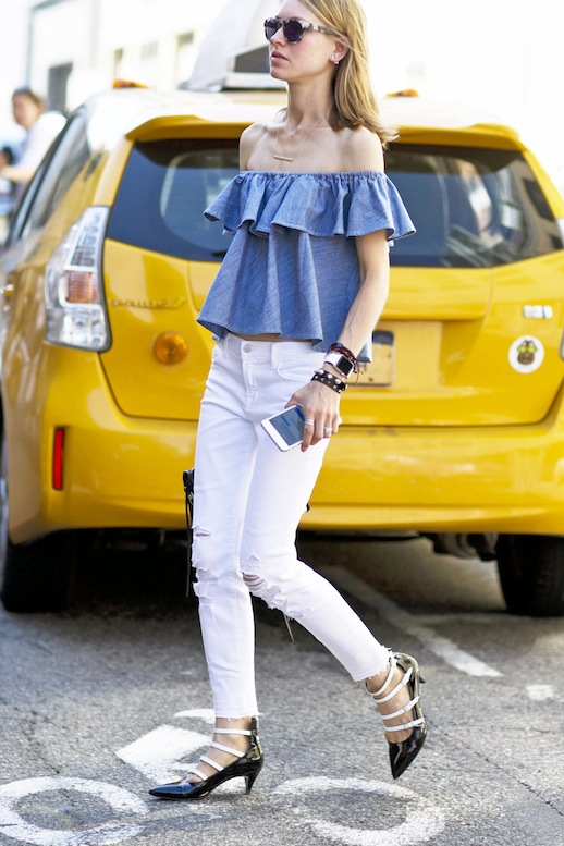 Le-Fashion-Blog-Nyfw-Street-Style-Ruffled-Denim-Off-The-Shoulder-Top-Ripped-White-Jeans-Stack-Of-Bracelets-Black-And-White-Lace-Up-Kitten-Heels-Via-Style-Caster.jpg