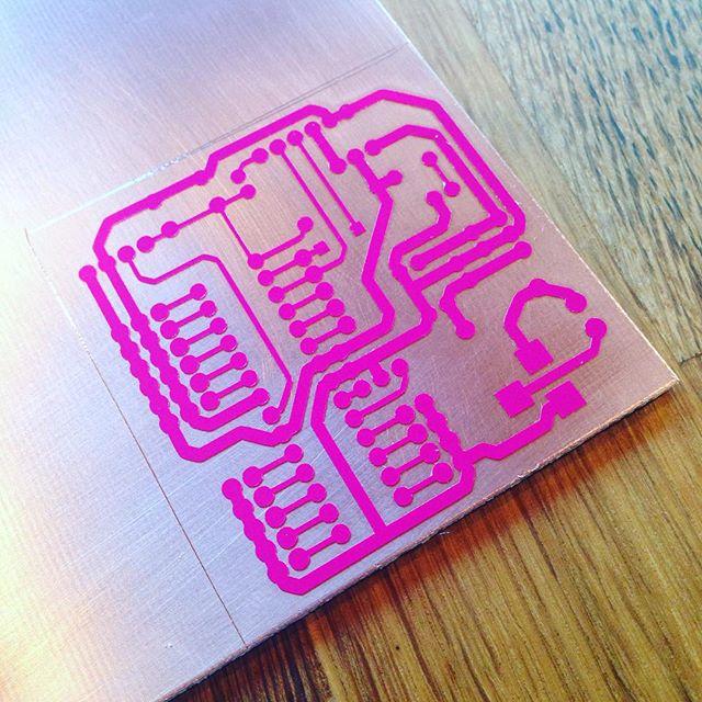 Circuit board traces cut in vinyl