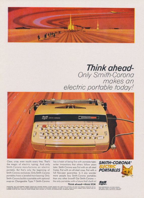 An old Smith-Corona electric typewriter magazine advertisement