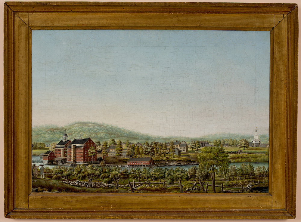 This iconoc painting of the Boston Manufacturing Company in the early 19th century hangs in the foyer at Gore Place in Waltham. This photograph was taken by David Bohl.