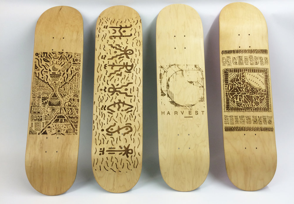 Laser etched series for Harvest Skateboards.