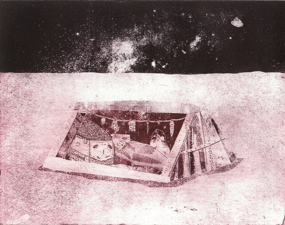 Moon Shanty , etching on fabriano.