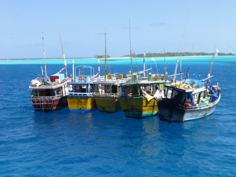 Boats used in the 'boat people' trade lined up waiting to be sunk 2013