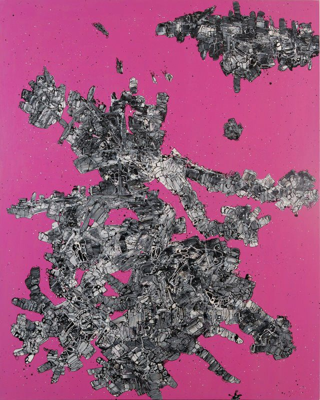 Cosmic cluster in pink space  Floating World Series, 2012 Acrylic on canvas, 150 cm x 120 cm