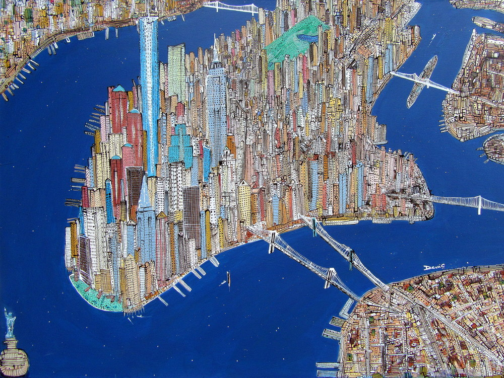 New York..! New York.....!!!   Den-City Series, 2015   Acrylic on canvas, 90 cm x 120 cm (In a private collection, Goa - India)