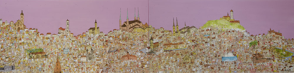 Bamberg Skyline - A historical town in Germany  Den-City Series, 2016 100 cm x 400 cm, Acrylic on canvas (Commissioned work, in private collection in Bamberg, Germany)