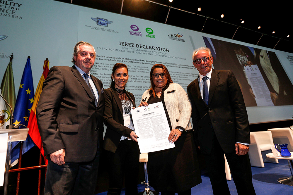 From right to left: Vito Ippolito, FIM Président; Kattia Juarez HERNANDEZ, Director FIM CIE; Nita Korhonen, Director FIM CFM, Ignacio Verneda FIM CEO.