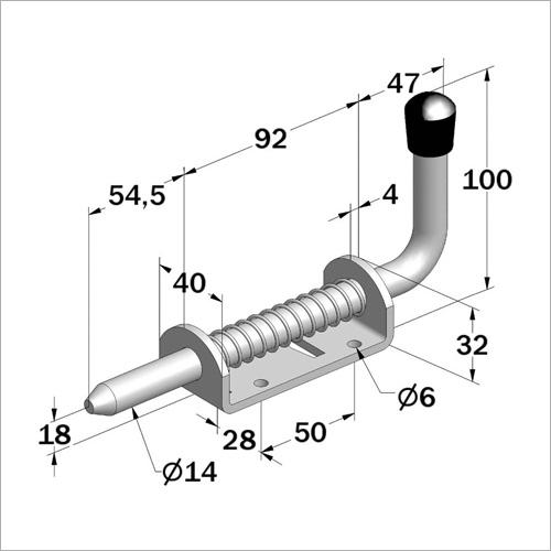112902 - Federriegel, Stahl verzinkt mit Sicherheitsmechanismus