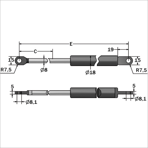 141004 -Gasdruckfeder 40 kg Länge 486 mm