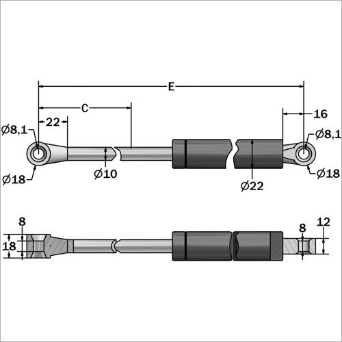 144106 -Gasdruckfeder 60 kg Länge 601 mm