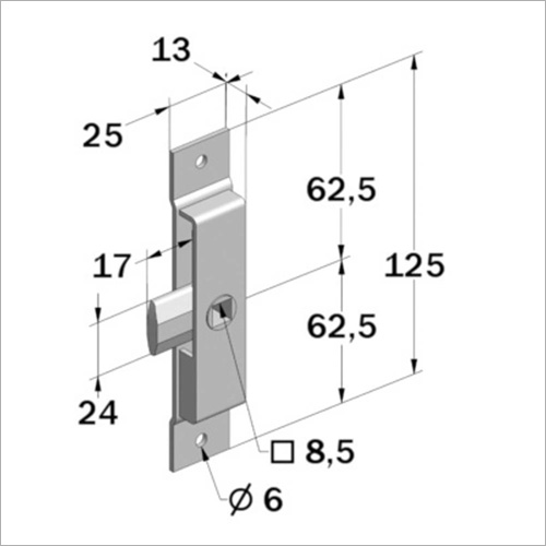 29213 -Zungenschloß Nirosta 125 x 25 * 13 mm