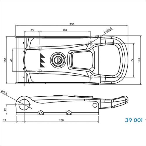 39100 -NEW INOXDrehstangenverschluss 20mm