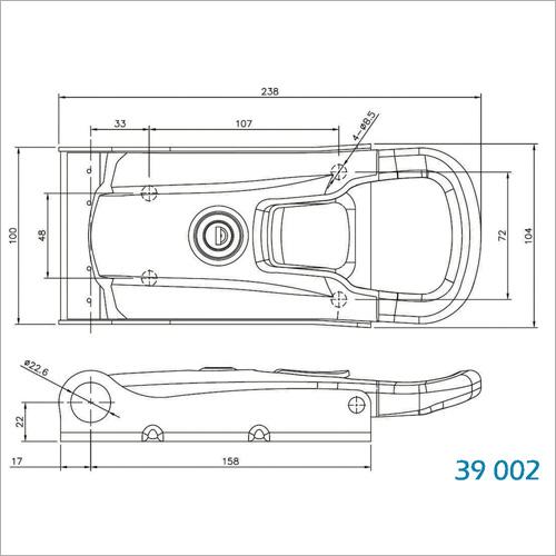 39200 -NEW INOXDrehstangenverschluss 22mm