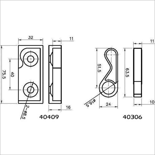 40016 -Zubehörset für Einbauverschl. 40100 16mm