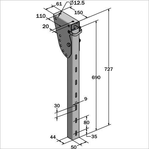 61110 -Schwenkbare Halterung SSV 690 mm