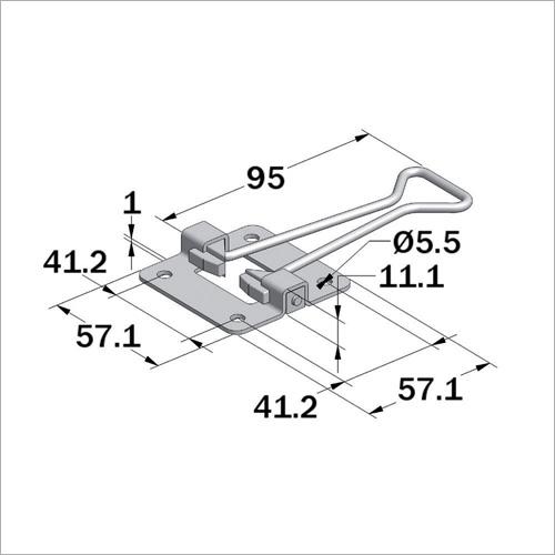 66661 -Türfeststeller (Hakentei) Länge 95 mm, niro