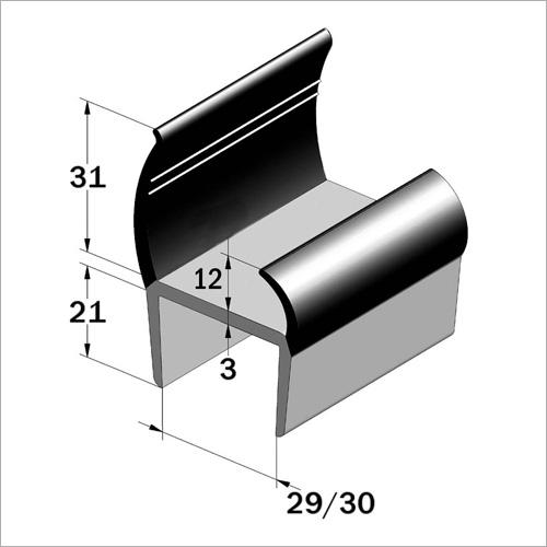 67600 -PVC-Türdichtung 30 mm Hart-weich/Grau-sc