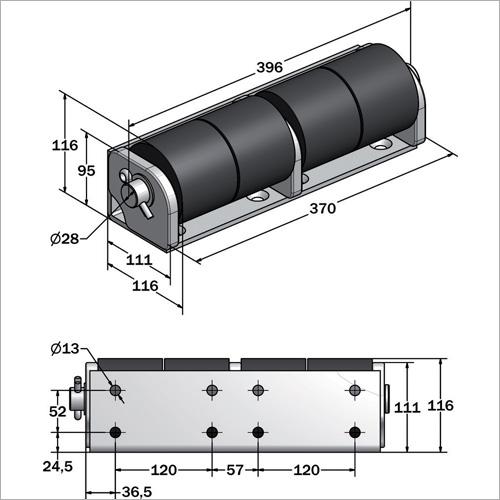 714651 -Rampen Anfahrschutzrolle (Version 4 Rollen)