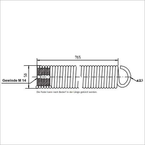 65055 -Zugfeder - eine Seite mit 1/1 DT Öse
