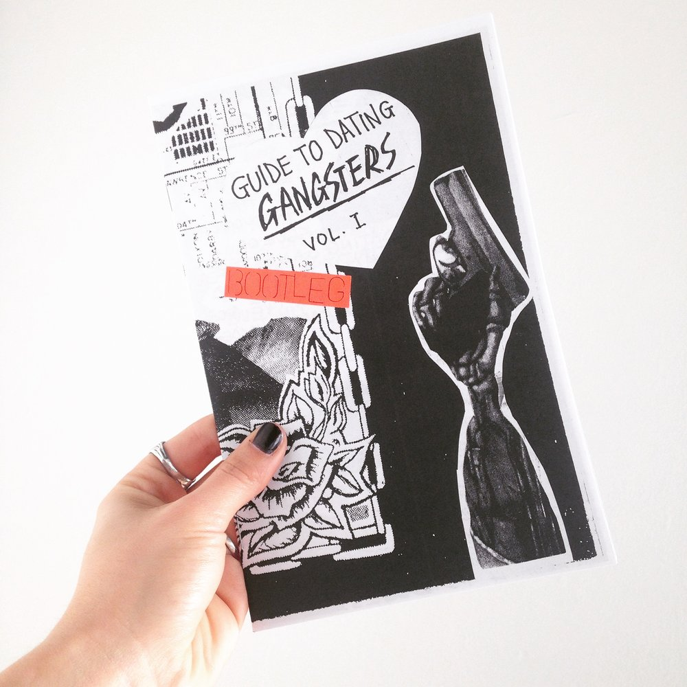Out of Print - Guide to Dating Gangsters Vol. 1 was a how-to zine featuring dating tips on courting male or female gangsters. This issue features tips on wooing traditional thugs, bikers, crust punks, art school kids, DJs, and skinheads.The zine is an 18 page, xeroxed publication varying in color. Now out of print,