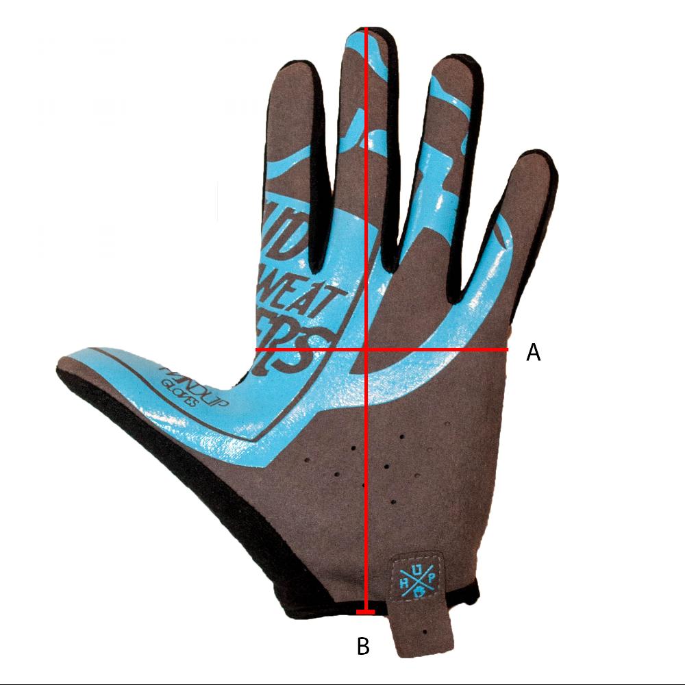 """Sizing guide. Size                   A                     B XS                     3 - 1/4"""" (8.3cm)         7 - 1/2"""" (19cm) S                      3 -1/2"""" (8.9cm)         7 - 3/4"""" (19.7cm) M                      3 - 1/2"""" (8.9cm)         8"""" (20.3cm) L                      3 - 3/4"""" (9.5cm)        8 - 1/4"""" (20.9cm) XL                     4"""" (10.2cm)            8 - 1/2"""" (21.6cm)"""