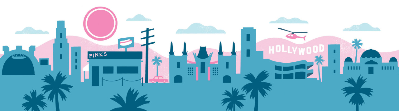 An illustration of LA landmarks for an OUP textbook