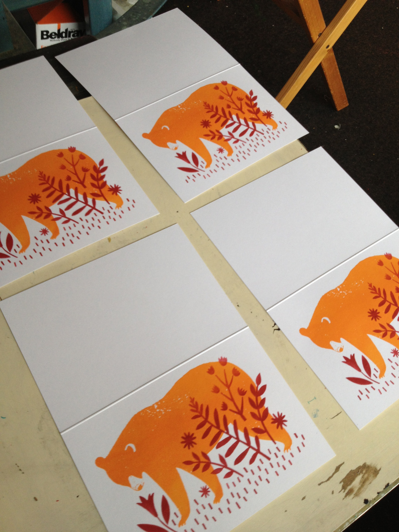 I've been busy screen printing some cards for the next volume of the  Print Shop . Starts next Wednesday