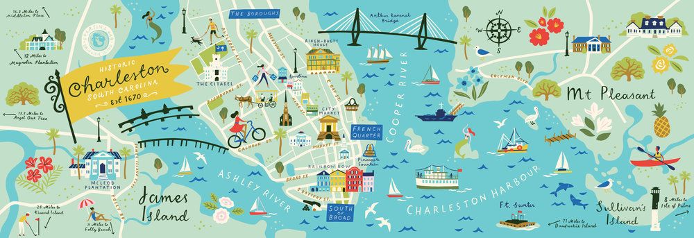 Map of Charleston — Lucy Davey Illustration Charleston Map on
